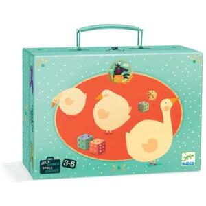 Κλασσικά επιτραπέζια ¨Χήνα- Γκρινιάρης¨ σε βαλιτσάκι από χοντρό πεπιεσμένο χαρτόνι από την εταιρεία Djeco. Διαθέτει ταμπλό διπλής όψης