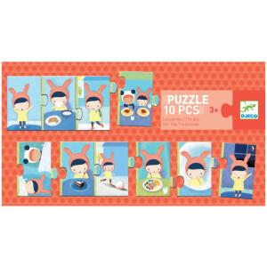 Εκπαιδευτικό παζλ '' Η μέρα μου'' από την εταιρεία Djeco. Aποτελείται από 10 κομμάτια από ανθεκτικό χαρτόνι και έχει σκοπό να αναπτύξει την λογική σκέψη και την μνήμη του παιδιού. Ενα παιχνίδι αντιστοίχισης στο οποίο τα παιδιά συναρμολογούν τις κάρτες για να φανεί το πρόγραμμα της ημέρας τους.