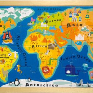 Παγκόσμιος χάρτης ξύλινο παζλ σε πλαίσιο