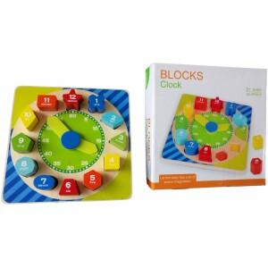 Ξύλινο παιχνίδι-ρολόι με πολύχρωμα σχήματα