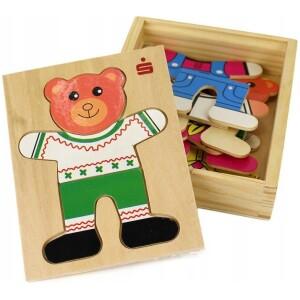 """Αρκουδάκι ξύλινο """"ντυσίματα"""" 12x14x3cm"""