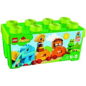 Τα νήπια θα διασκεδάσουν πολύ κατασκευάζοντας το δικό τους τρένο με ζώα με Το Πρώτο Μου Κουτί με Τουβλάκια Ζωάκια! Βοηθήστε τα να ταξινομήσουν τα τουβλάκια σε διάφορα χρώματα και συζητήστε για το κάθε ζώο καθώς το κατασκευάζετε μαζί τους: ένας ελέφαντας με μια τσουλήθρα για προβοσκίδα