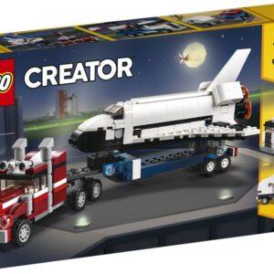 Απογειώσου για διαστημικές περιπέτειες με το 3σε1 σετ LEGO® Creator Μεταφορικό Διαστημικό Λεωφορείο. Οδήγησε το πανίσχυρο φορτηγό με την επίπεδη καρότσα στο σημείο εκτόξευσης